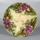 Antique or Vintage French Majolica Plate, Grapes & Grapevine Leaf Pattern