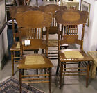 Antique Golden Oak Pressed Back Chairs / Cane Seats