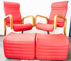 Pair of Mid Century Modern Vintage Lounge Chairs Thonet Cantilever Ottoman Set