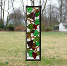 9 x 36 Handcrafted stained glass window panel flower Grape w Vine