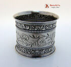 Beaded Floral Repousse Napkin Ring Gorham Sterling Silver 1900