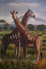 Giraffes At The Savanna, Original Wild Life Oil Painting on Canvas, 24