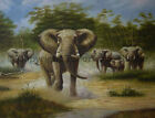 Elephants At The Wild, Original Hand Painted Oil Painting on Canvas, 34