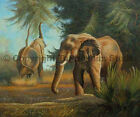 Elephants At The Savanna, Original Wild Life Oil Painting on Canvas, 36