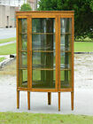 Beautiful Tiger Oak Bow Front Corner China Cabinet Display Cabinet circa1900