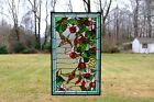2025 x 34 Large Handcrafted stained glass window panel Hummingbirds  Flower