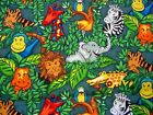 Whimsical PRIMARY COLOR JUNGLE ANIMALS Zebra/Elephant/Giraffe Childre2Yds Fabric
