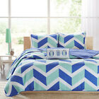 BEAUTIFUL MODERN BLUE TEAL WHITE CHEVRON STRIPE SPORT QUILT SET