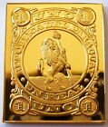 Paraguay 1 Real Stamp 1870 Proof 24 K Gold Plated on Sterling Silver Rare !