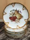 Set of 6 Furstenberg Salad Plates Gold Scroll Edge & Fruit Center Hand Decorated