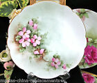 BAVARIA GERMANY HAND PAINTED ARTIST SIGNED PLATE PINK BLOSSOM PATTERN