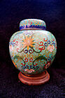 Beautiful Vintage Chinese Cloisonne Vase w/ Wooden Stand