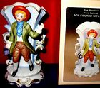 FINE PORCELAIN HAND PAINTED BOY FIGURE HOLDING A  LANTERN WITH VASE