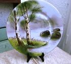 Limoges France Hand Painted Birch Trees Scene Plate Platter Charger