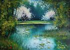 Forest Water lilies IMPASTO Original Oil Painting Impression Lake Europe Artist