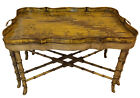 Hollywood Regency Tole Faux Bamboo Chippendale Chinoiserie Tray Table