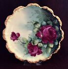 COLLECTIBLE ANTIQUE LIMOGES HAND PAINTED PORCELAIN PLATE SIGNED BY E.W