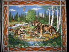 Wolf family birch trees Forest New Cotton Fabric quilt top or wall Panel to sew