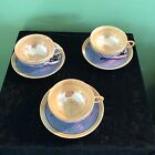 Beautifu Handpainted Snow Scene Japanese Lusterware Tea Cup and Saucer Sets (3)