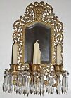 Antique Bradley & Hubbard 19c Candelabra Prisms Bacchus Mirror Candle Sconce
