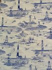 Blue on white lighthouse and beach 100% cotton fabric 45