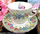 FOLEY TEA CUP AND SAUCER LIME GREEN BAND FLORAL PAINTED PATTERN TEACUP