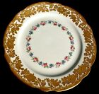 ANTIQUE OVINGTON BROS NY & H & CO. ENGLAND HP GOLD & FLORAL DISPLAY PLATE 9 1/4
