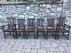 6 Piece Antique English Dark Oak Jacobean Dining chairs wth Hand Woven Cane Back