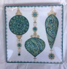 222 Fifth CONSTANTINA TURQUOISE GOLD CHRISTMAS ORNAMENTS Side Salad Plates Set 4