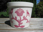 Vtg Weatherby Hanley Flower Pot England Falcon Ware Planter Pink Birds Dots 2-74