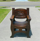 19th Century Tiger Oak Highly Carved Saddle Seat Throne Chair