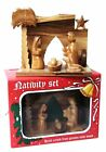 Hand Carved Olive Wood Nativity scene stable with Baby Jesus and Holy Family