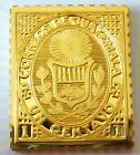 Guatemala 1 Centavo Stamp 1871 Proof 24 K Gold Plated on Sterling Silver Rare !
