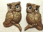 Large Retro 1967 Gold Tone Owls Wall Decor Universal Statuary Corp Chicago 431