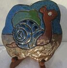 Handmade decorative ceramic painted plate with Snail figurine signed