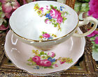 FOLEY TEA CUP AND SAUCER PINK & CREAM AND FLORAL PATTERN TEACUP