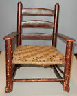 Antique Child's Rocking Chair Red Paint Splint Massachusetts Primitive
