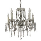 Stunning Antique Five-Light Glass Chandelier with Spear Prisms NC2063