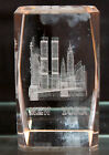Crystal 3D Laser Etched New York Skyline Twin Towers Paperweight Collectible