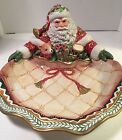 NWOB Fitz&Floyd Winter Holiday Santa Server Serving Bowl Dish Christmas Holiday