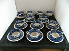 Vintage 1920's Copeland Spode Tower Blue 14 tea cups & 12 saucers, huge lot