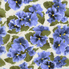 RJR Fabrics Debbie Beaves Lovely 1444 03 Large Blue Pansy Cream By the Yard