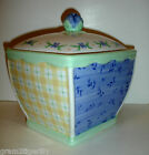 Pfaltzgraff Summer Breeze Lrg Square Canister Yellow Blue Green Floral and Plaid