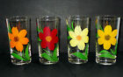 4 Vintage Bartlett Collins GAY FAD BIG FLOWER Hi Ball Tumblers Highball Glasses