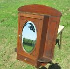 Vintage Medicine Kitchen Wall Cabinet Apothecary oval beveled Glass Mirror Inlay