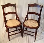 Pair of Beautiful Antique Cane Bottom Walnut Chairs