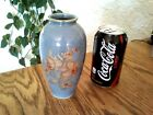 Vtg Japan Blue Floral Vase ACTION  Orange Gold Etched Paint 6