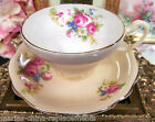 FOLEY TEA CUP AND SAUCER PEACH AND  FLORAL PATTERN TEACUP