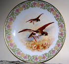 Dubois Signed Limoges France Antique Porcelain Game Bird Plate Floral Trim 9.25