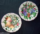 TWO Sakura Sonoma SALAD PLATES Grapes Pears & Apple Pattern Oneida Stoneware